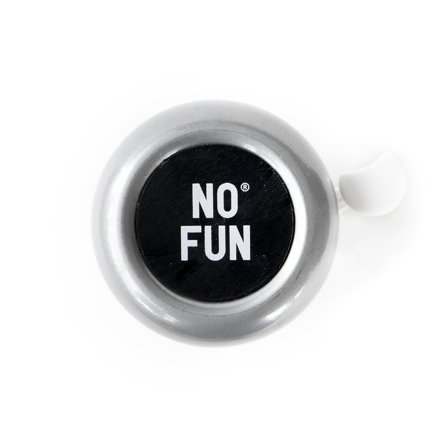 "Official ""NO FUN®"" bicycle bell.  Bell is fabricated with metal and plastic, and features a black disk in the center with white ""NO FUN®"" branding."