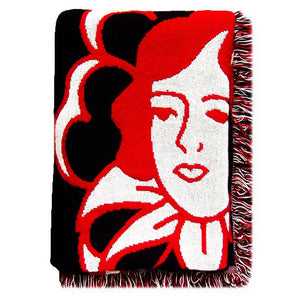 "No Fun Press ""Rose"" woven blanket. Woven from 100% cotton in red, white, and black, at 48"" x 68"""