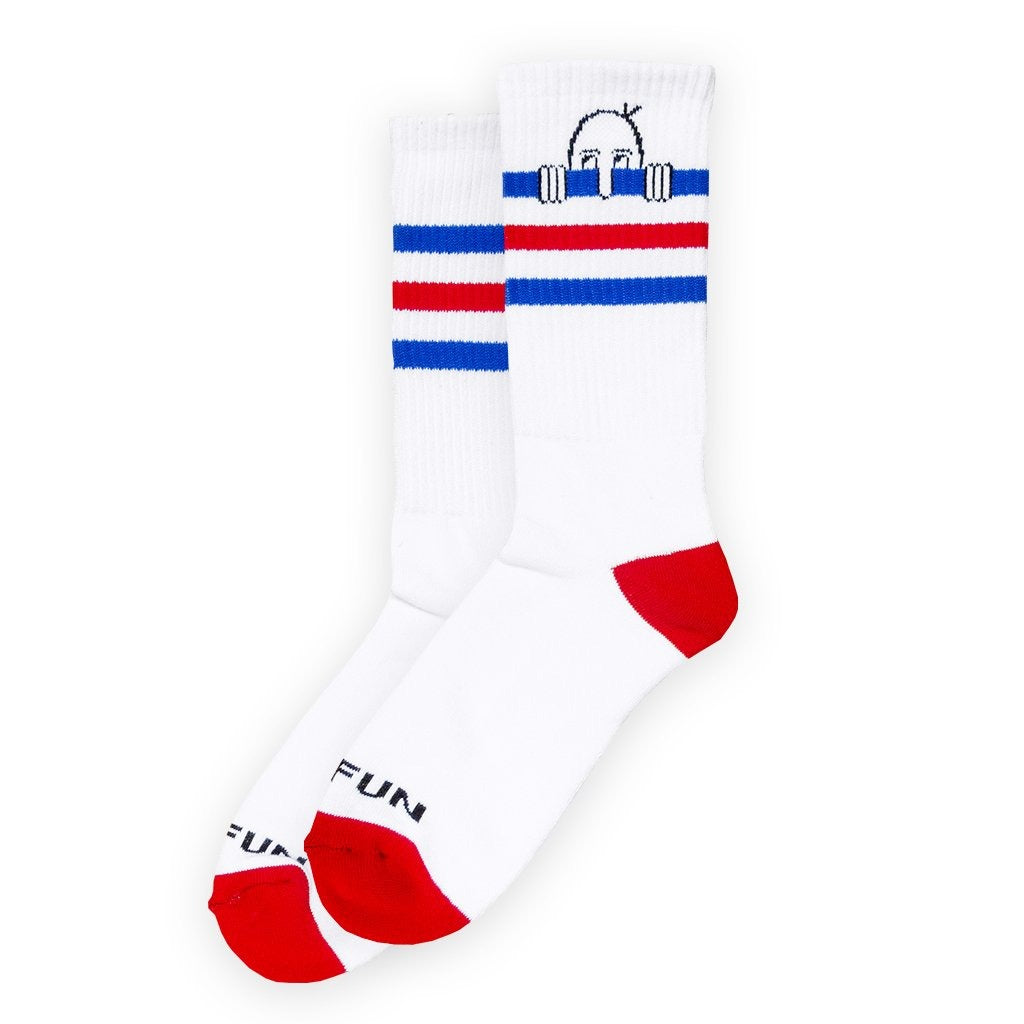 No Fun's Kilroy crew socks. If you know, you know. One Kilroy per sock. 100% Pima Cotton. White socks with red, blue, and black details. Custom designed in Toronto. Woven in the United States.