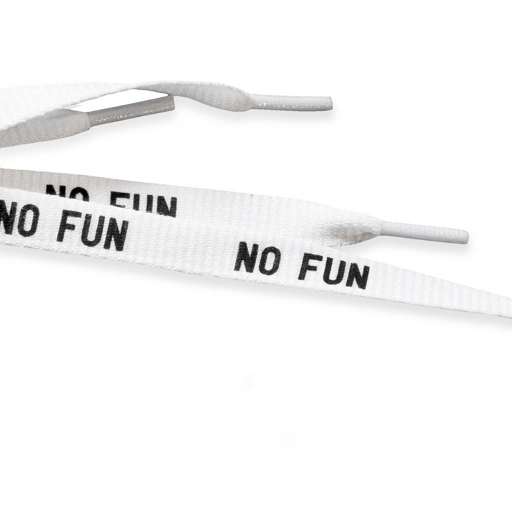 "No Fun Press - ""No Fun"" shoelaces detail"