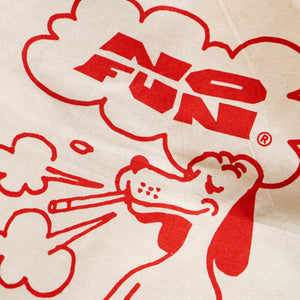 "Detail of the ""Smoking Dog"" tote bag."