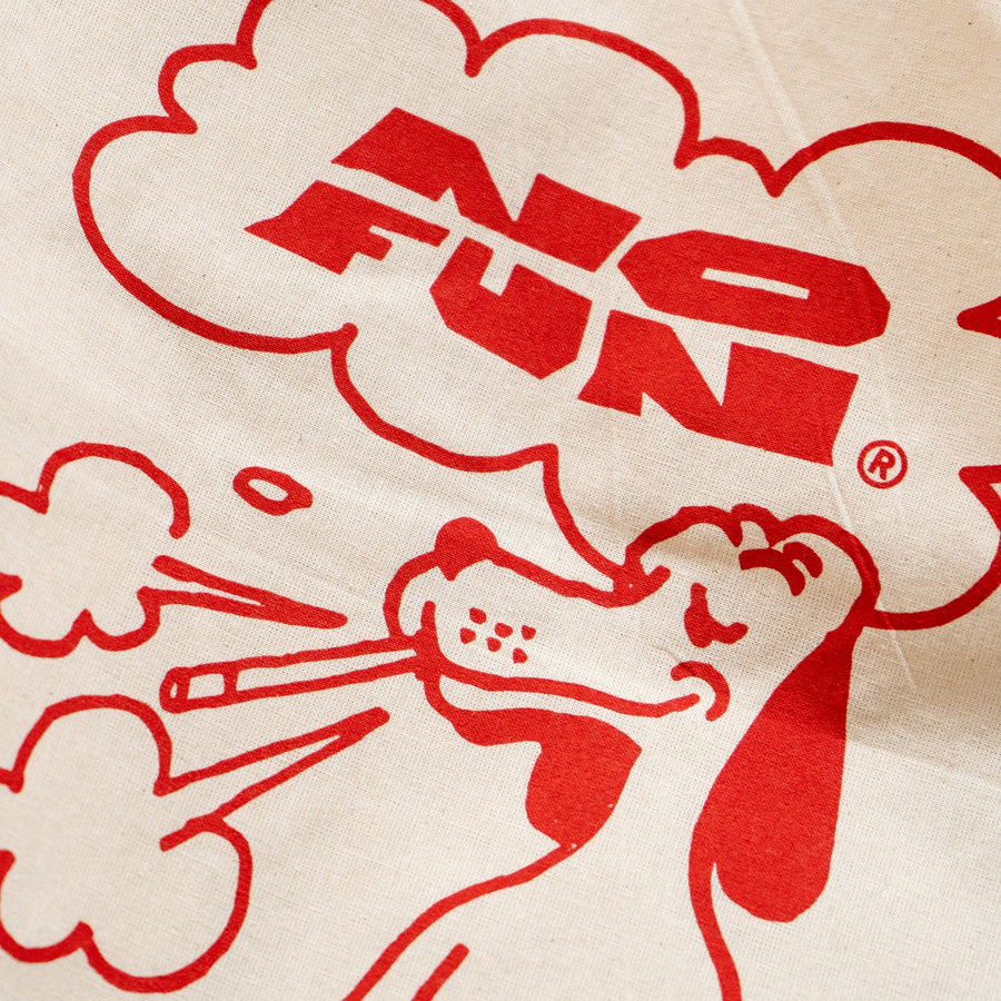 "Canvas tote bag with red print of dog smoking and ""No Fun""® cloud logo."