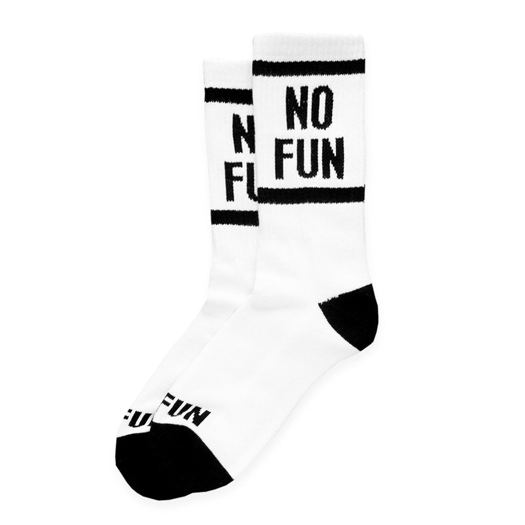 "Our signature NO FUN® crew socks. 100% Pima cotton, woven in the United States.  The socks are white and feature ""NO FUN®"" logo in black on both the leg, and toe cap of the socks."