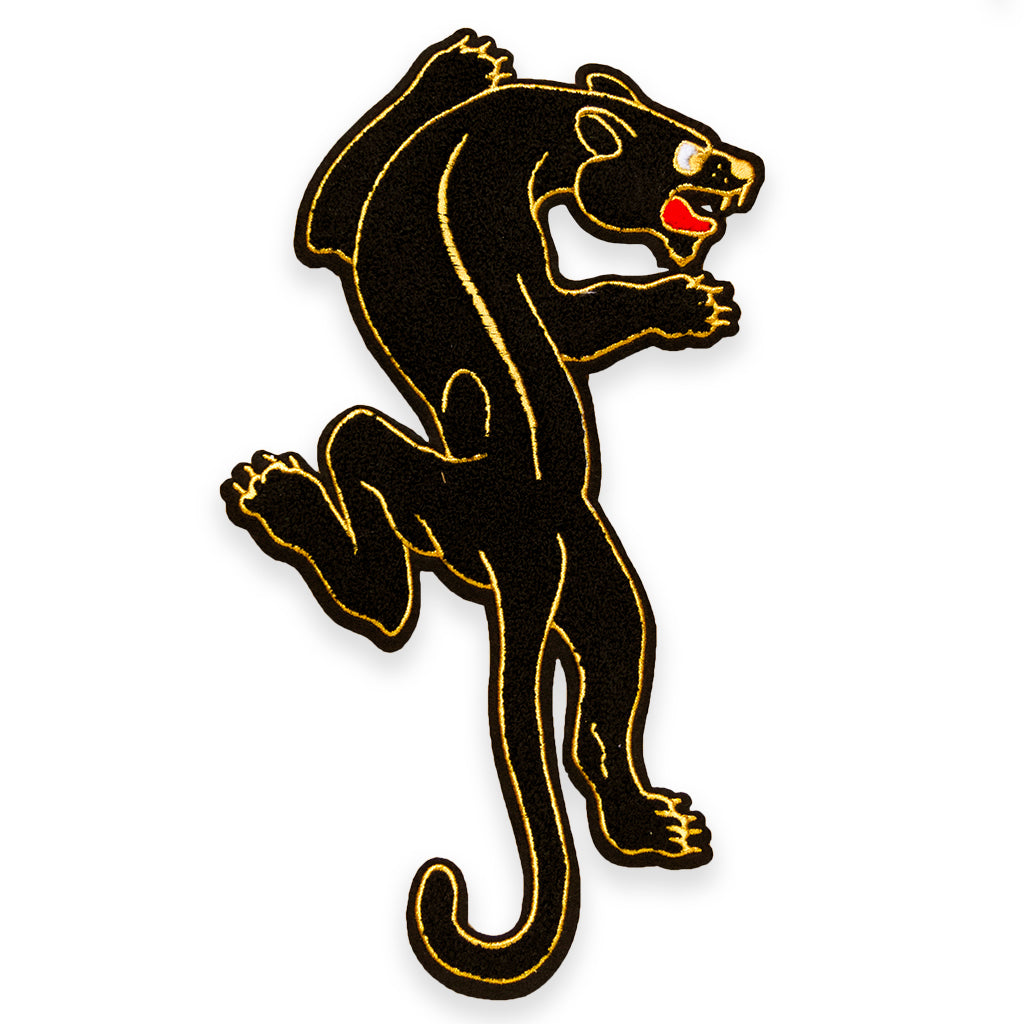 XL Chenille oversized back patch of classic Sailor Jerry style crawling panther. Patch is black chenille with red, and gold embroidery.