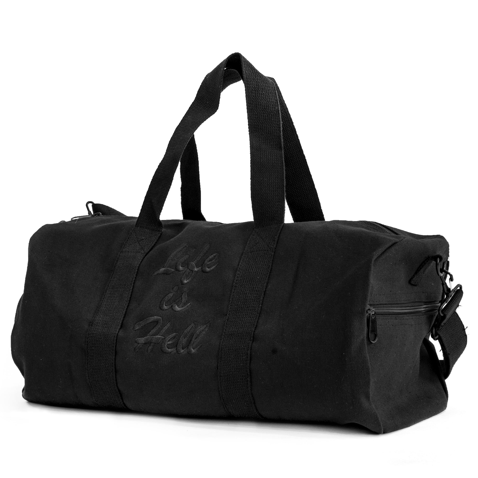"The ""Life Is Hell"" duffle from No Fun Press. Black duffle bag, with black embroidered text saying ""life is hell""."