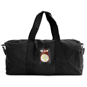 "The ""Life Is Hell"" duffle from No Fun Press. Black duffle bag, showing a woven tag of a burning globe on the opposite side of the embroidery."