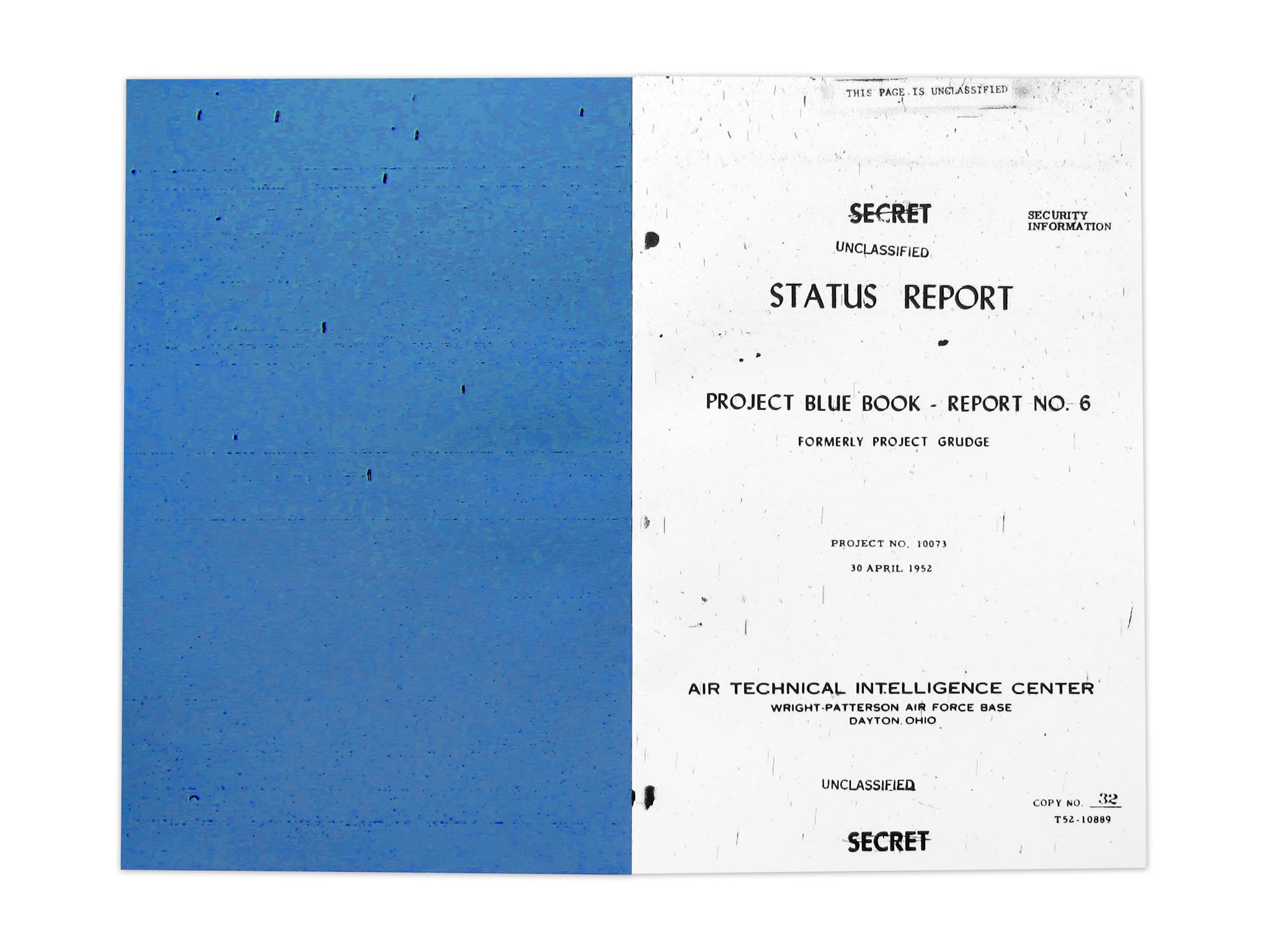 Project Blue Book UFO sighting guide zine by No Fun - cover