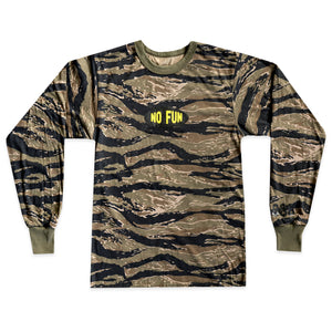 "Tiger camouflage longsleeve shirt with oval ""No Fun®"" logo in center."