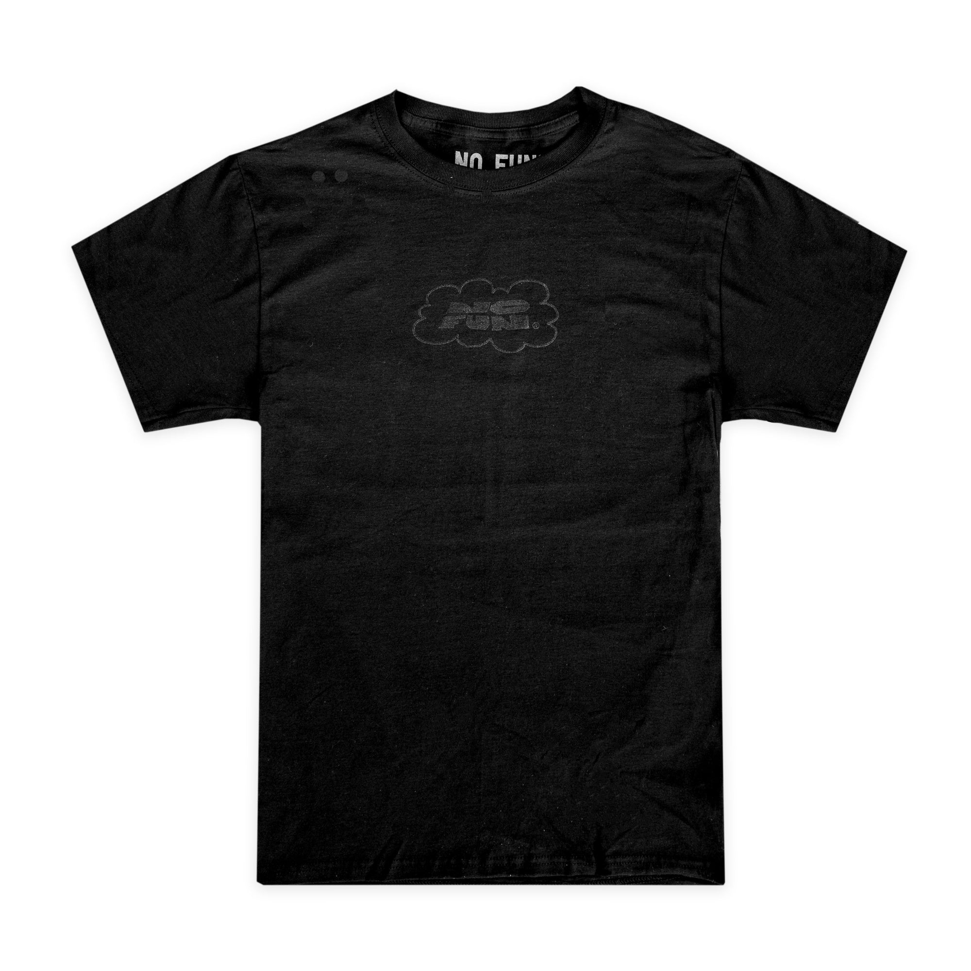 """Black Cloud"" T-Shirt from No Fun®. Black t-shirt, with black print of a hand-drawn cloud logo on chest."
