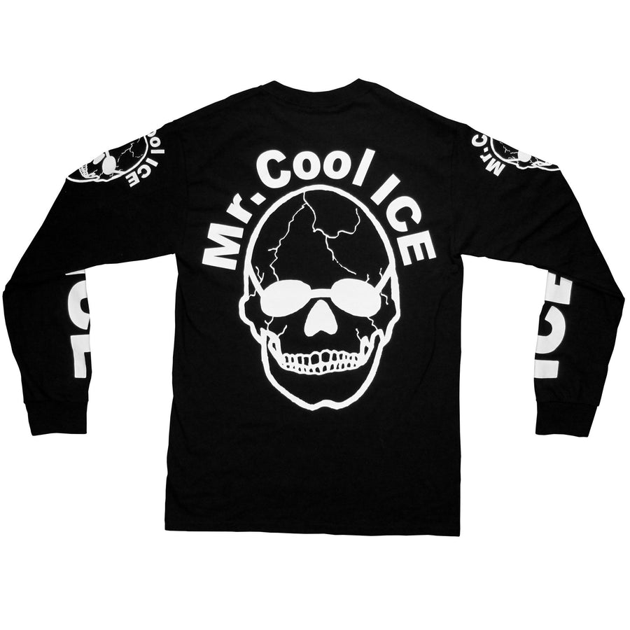 "Front of the Mr. Cool Ice shirt by No Fun®. Shirt references a man who had bones and the words ""Cool Ice"" tattooed all over his body."