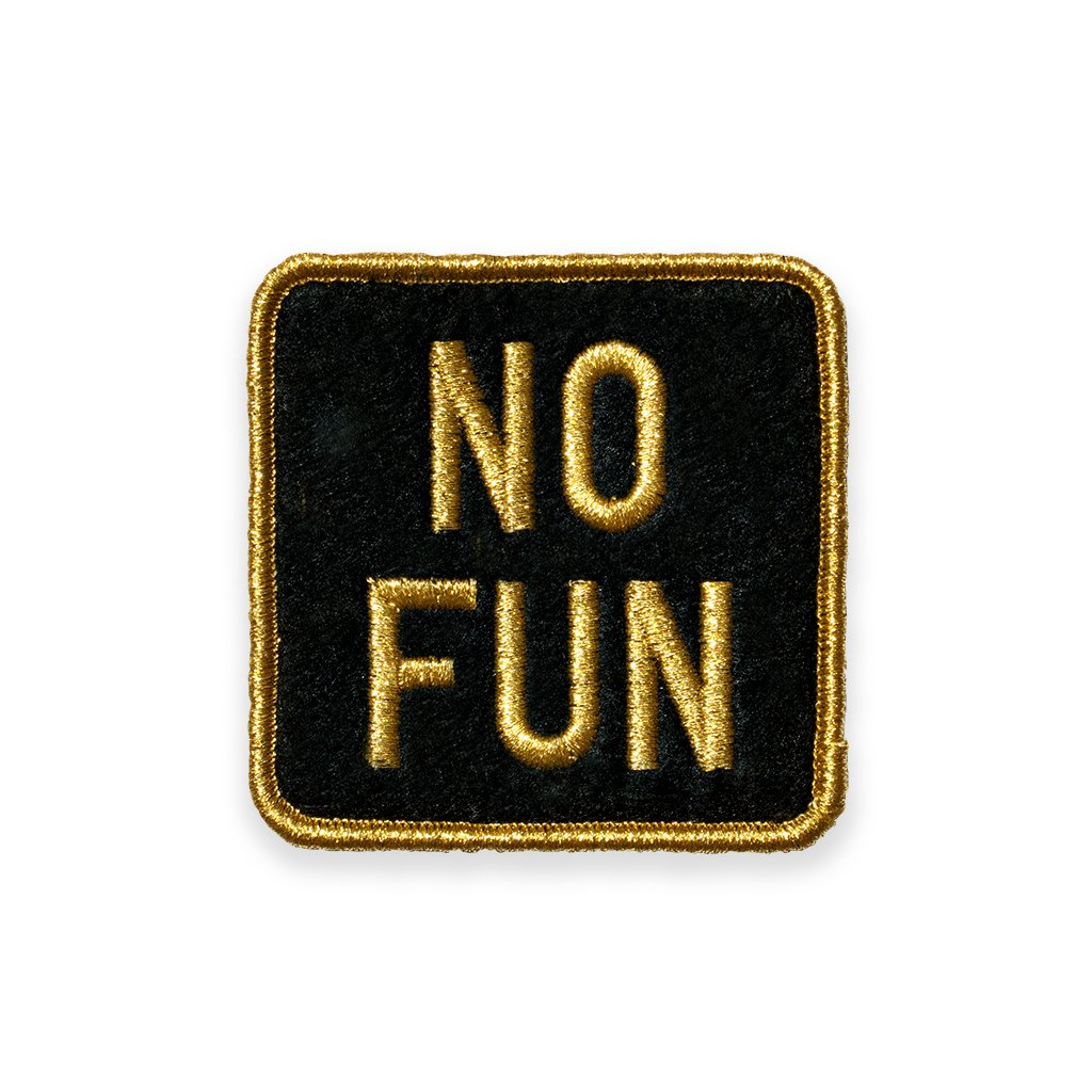 The new No Fun square logo patch. Gold metallic thread on black felt. Designed in Toronto