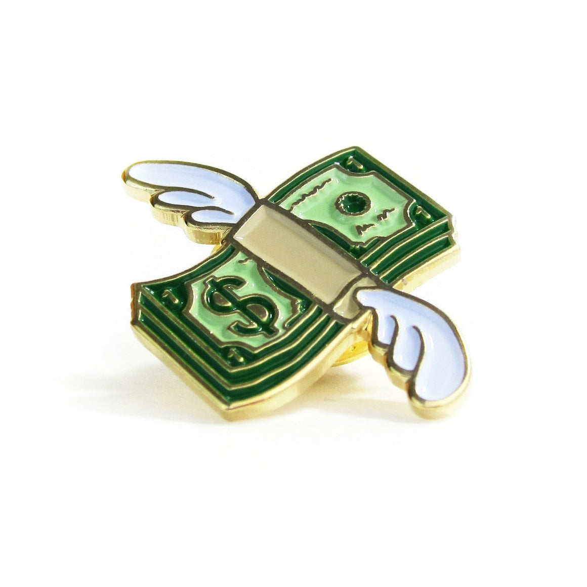 flying money emoji lapel pin by no fun press
