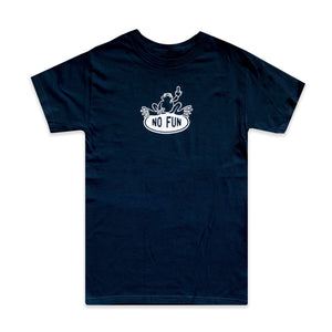 Navy t-shirt with print of frog giving the middle finger. Frog is sitting on an oval No Fun® logo.
