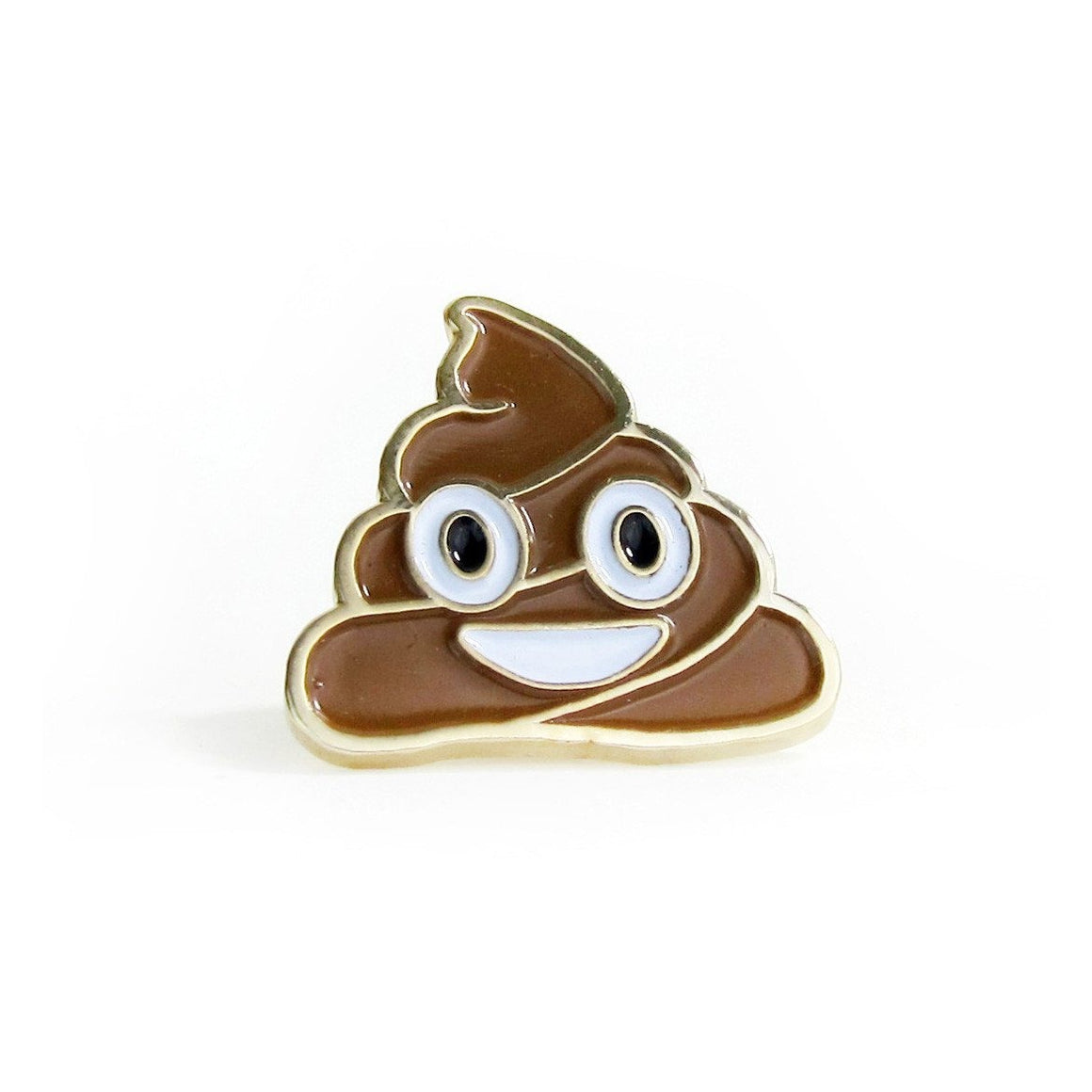 "No Fun Press - ""Happy Poop"" emoji enamel lapel pin"