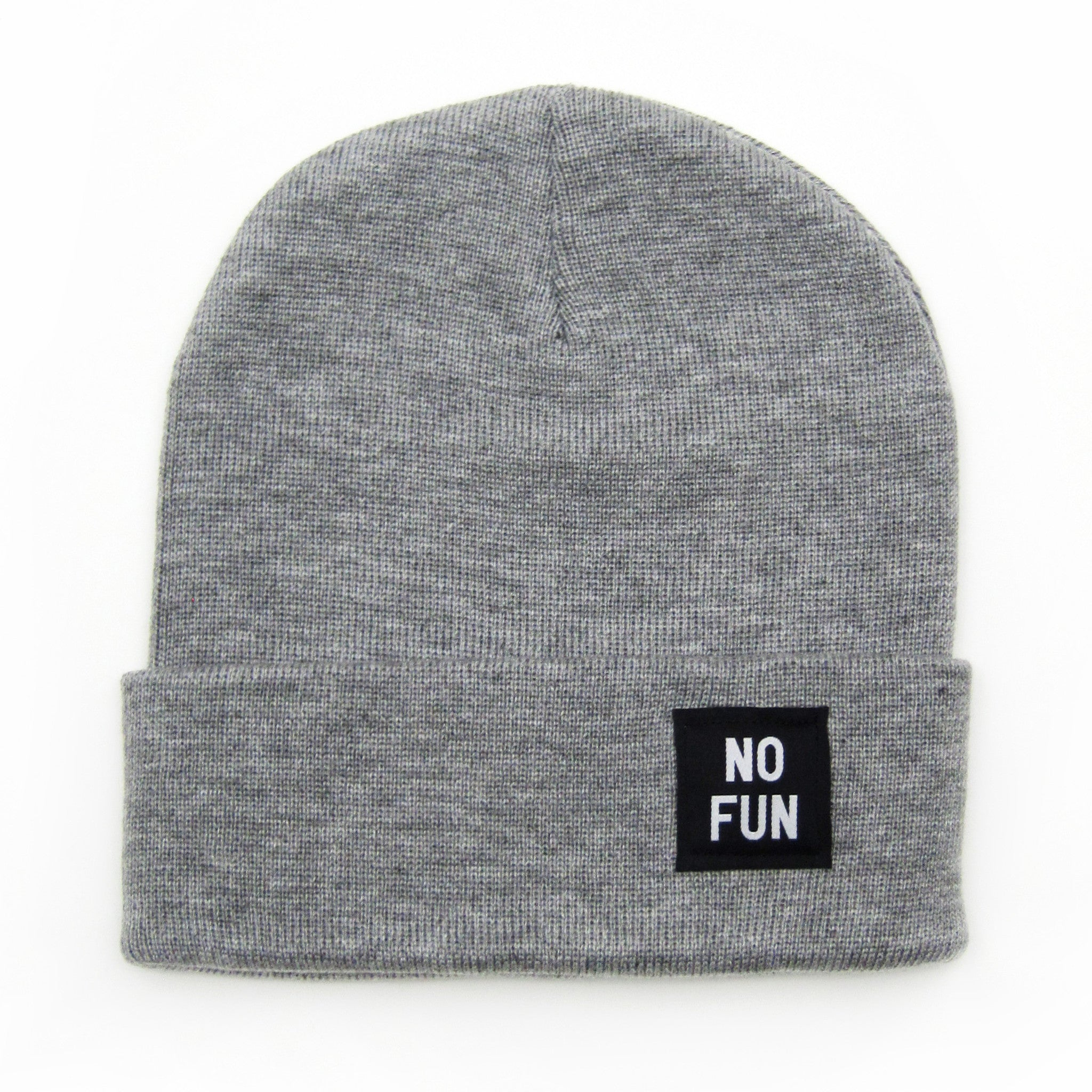 "No Fun Press - original classic ""No Fun"" labelled beanie toque - heather grey"