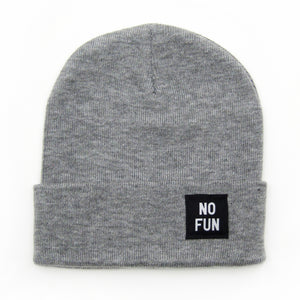 "The classic ""No Fun"" labelled beanie in heather grey."
