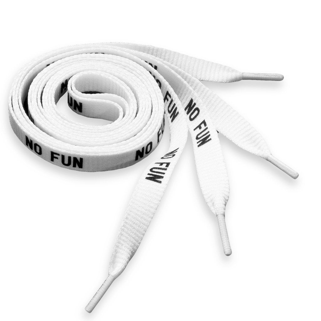 "Shoelaces with ""No Fun""® printed along the face. Available in 100cm and 150cm."