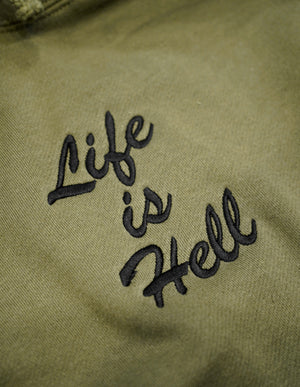"""Life Is Hell"" Embroidered Hoodie - Olive Drab"