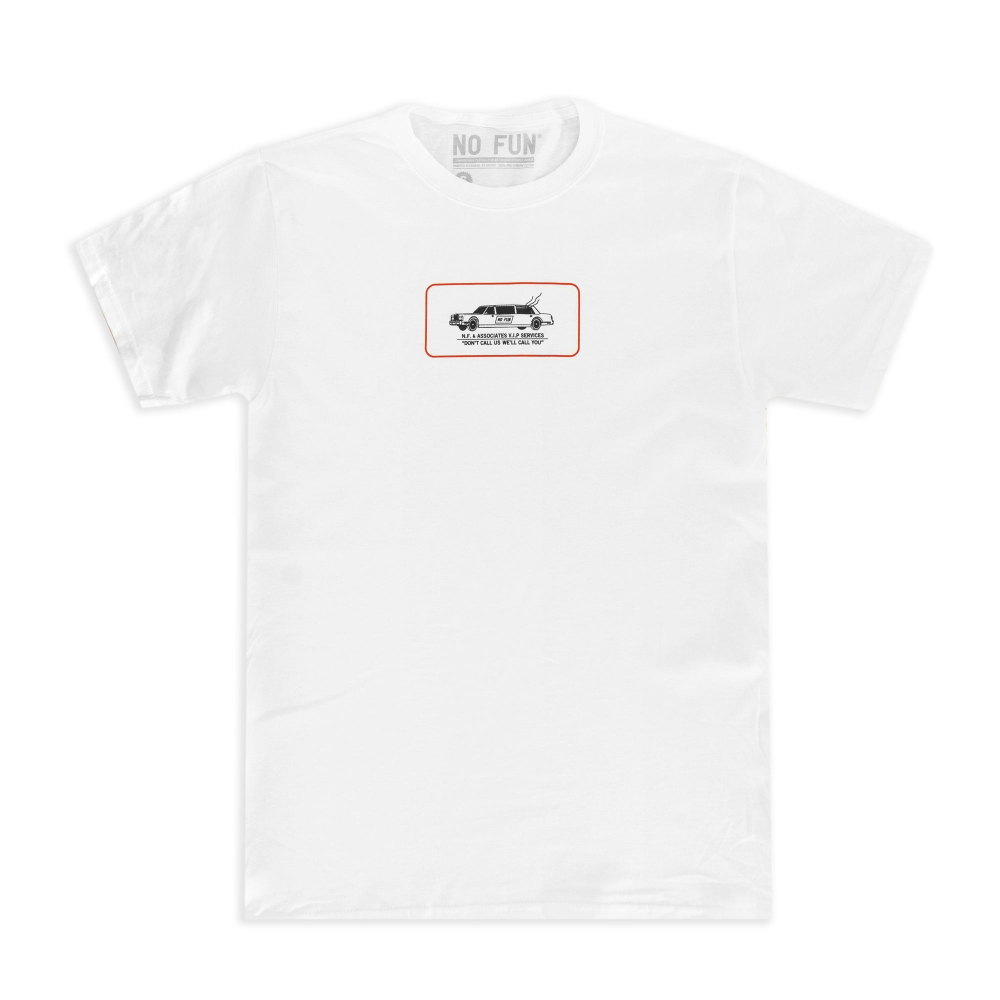 "White t-shirt with a chest print. Print is a drawing of a limo with smoke coming out of it, sized ~4"" wide. Text underneath the car says ""Don't call us, we'll call you""."