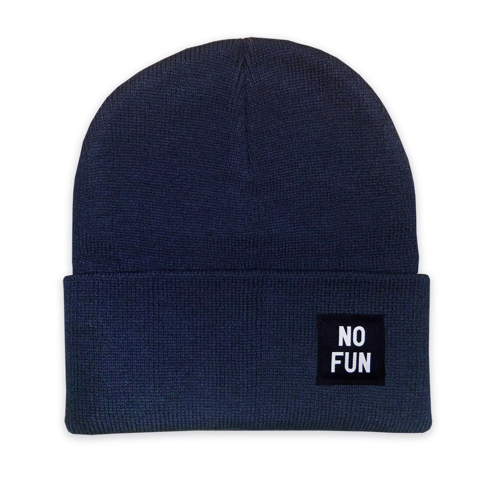 "No Fun Press - original classic ""No Fun"" labelled beanie toque - navy"