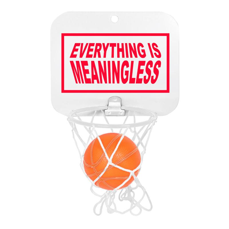 "Wal mount basketball game with big red ""Life is Meaningless"" print on backboard. Comes with net, ball, and suction cups for mounting."