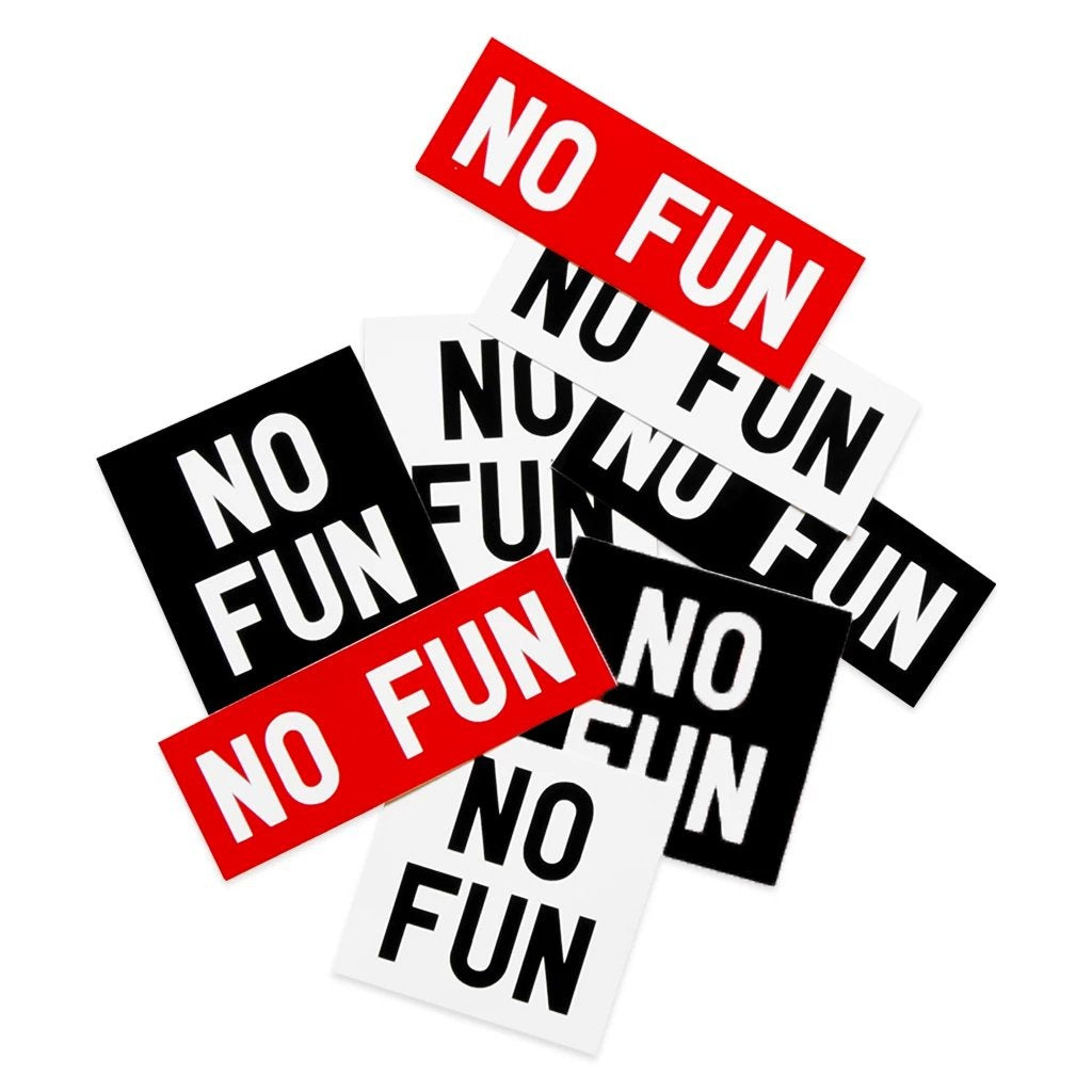 Pack of 8 vinyl No Fun® logo stickers. In red, black, and white.