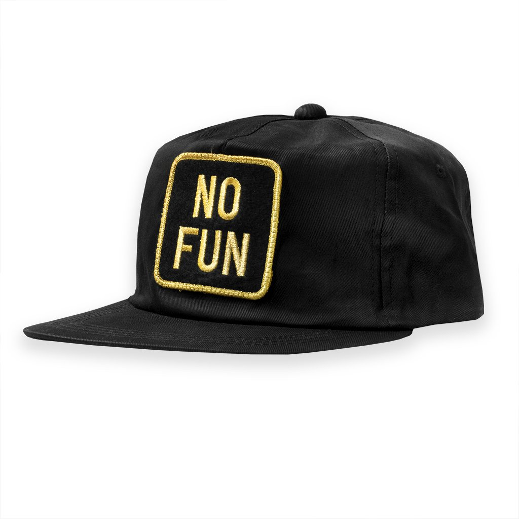 "No Fun Press snapback hat. Metallic gold ""No Fun"" logo on adjustable snapback hat. Made and designed in Toronto."