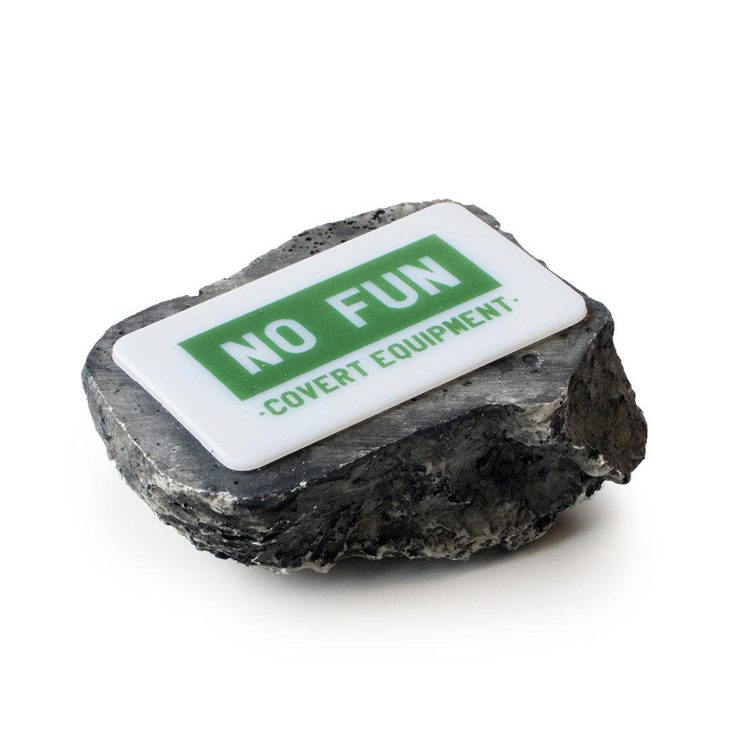 Detail of No Fun Press Rock with key compartment.