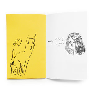 "Spread from ""Fresh Air"". Left page is yellow with black drawing of a dog pooping; right page is white with a pencil drawing of a woman shooting a dagger through a heart with her eyes."