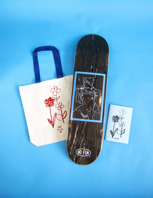 "A product photo of all items within the Christian Stearry ""Fresh Air"" collaboration with ""NO FUN®"".  The collection includes a cream tote bag with blue handle and red flower image.  A skateboard deck with illustrated nude woman, and lastly a photo of the ""Fresh Air"" zine is included."