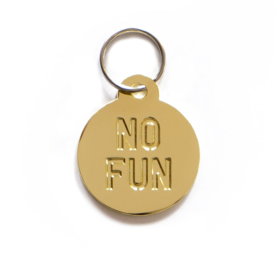 """No Fun®"" circular Pet Tag Keyring in silver. 1.25"" diameter molded metal keyring. Item is photographed against a white background to showcase the silver coloring."