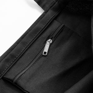 "Detail of the inside zipper pocket, and main zipper, of the ""Life is Hell"" tote bag."