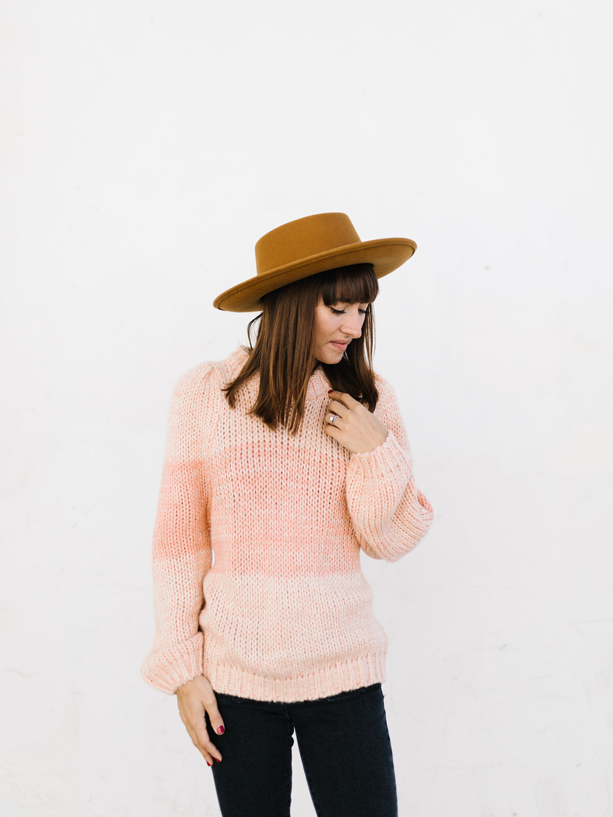 Coral Colorblock Sweater