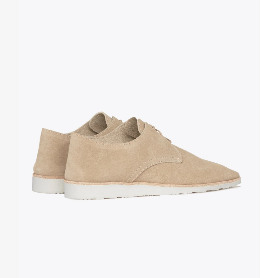 Sedona Travel Derby shoe in stone by Nisolo, soft suede light tan women's lace-up derby shoe.