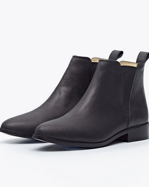 "Chelsea Boot by Nisolo Black Leather women's boots with 1.25"" heel and Rubber Soles"