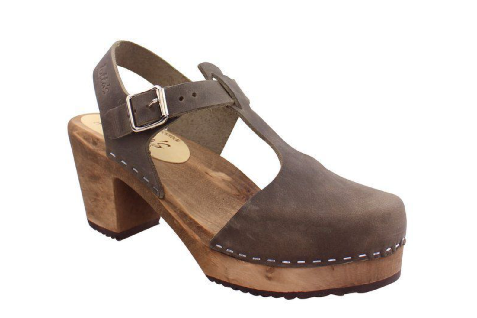 Highwood Taupe T-Bar Clog | Brown Base