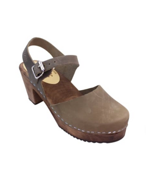 Highwood Taupe Brown Base by Lotta from Stockholm, Classic Mary Jane style clog with taupe colored leather, closed toe and buckle ankle strap. Brown wooden base with 7cm (2.75 inch) heel and 2cm (0.75 inch) platform.