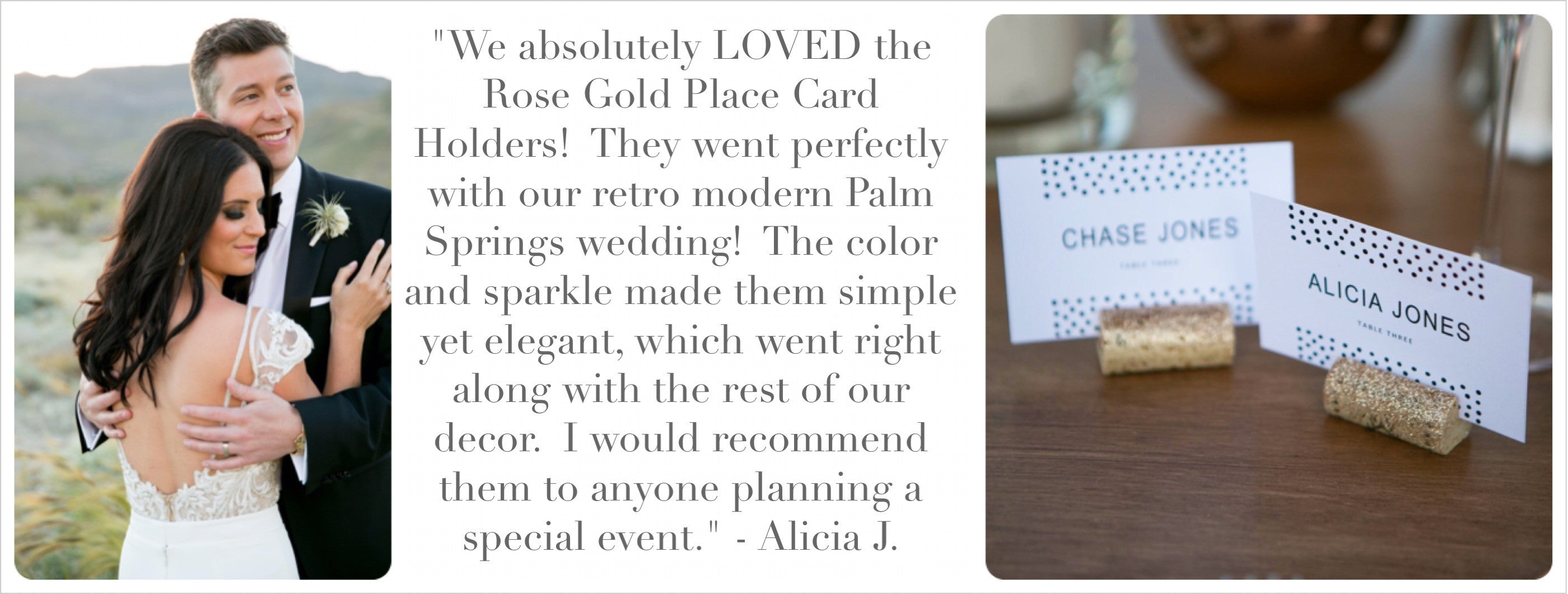 glitter cork place card holders
