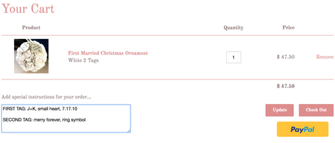 first married christmas ornament checkout screen