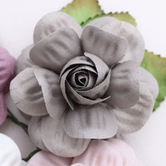 gray paper flowers
