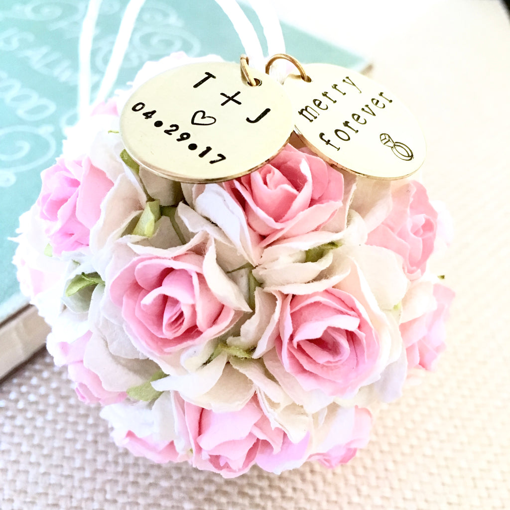 Our First Christmas Ornament | Personalized Wedding Gift (Blush Pink + White)
