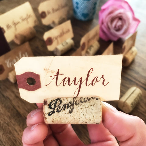 Small Vintage Cork Place Card Holder