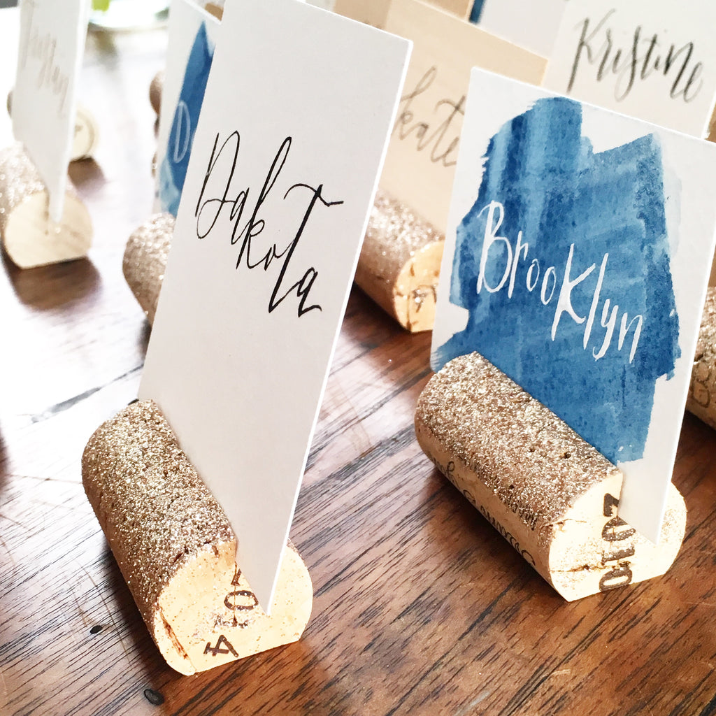 Glitter Place Card Holders Karas Vineyard Wedding