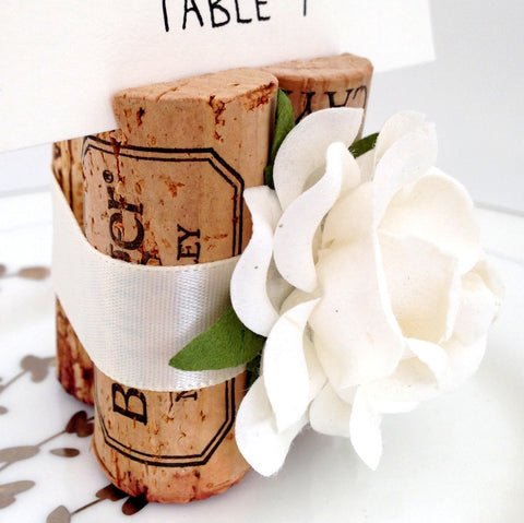 Premium Rose Place Card Holder Wrapped in Satin Ribbon