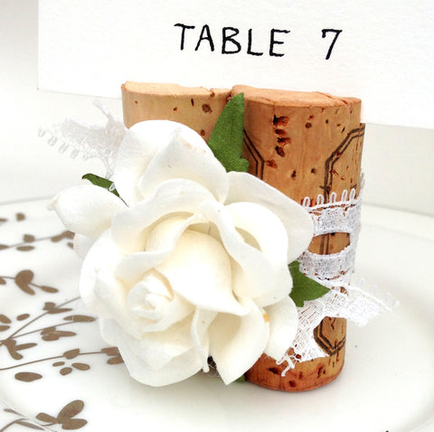 Premium Rose Place Card Holder Wrapped in Vintage-Syle Lace