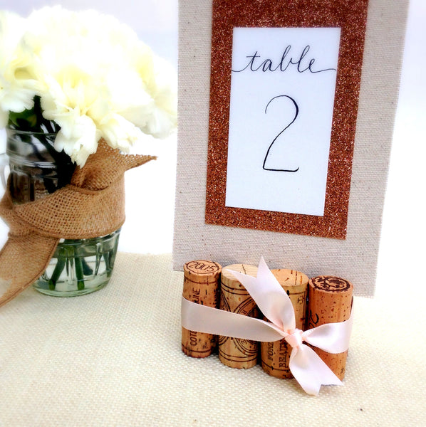 Wine Cork Table Numbers: Rustic Wedding Table Number Holder With Burlap & Lace