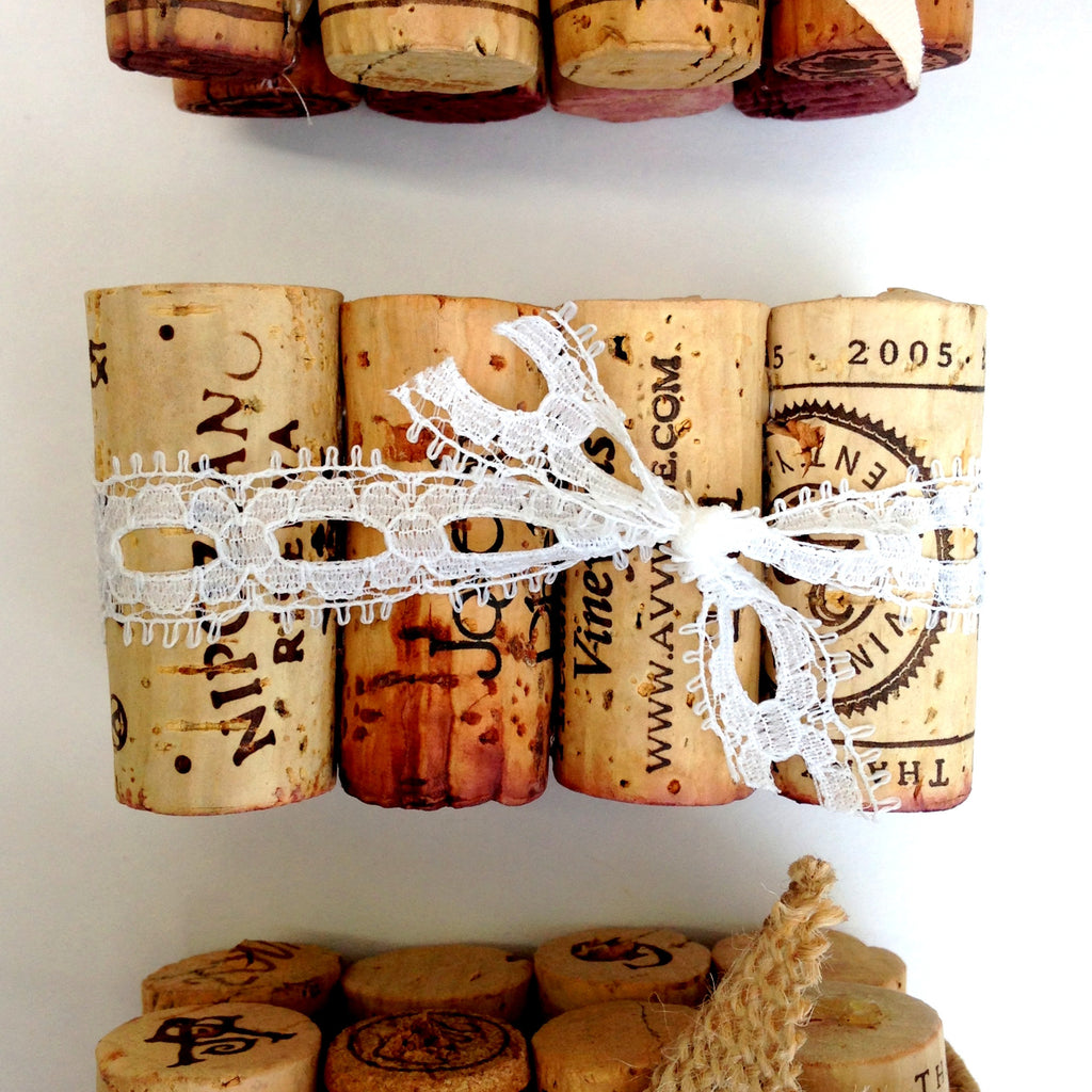 Rustic Wedding Table Number Holder Featuring 8 Vintage Corks