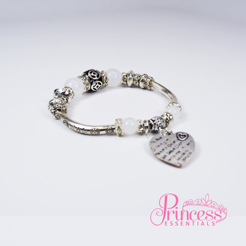 Sterling Silver Bracelet with Love Heart Charm & Glass Beads