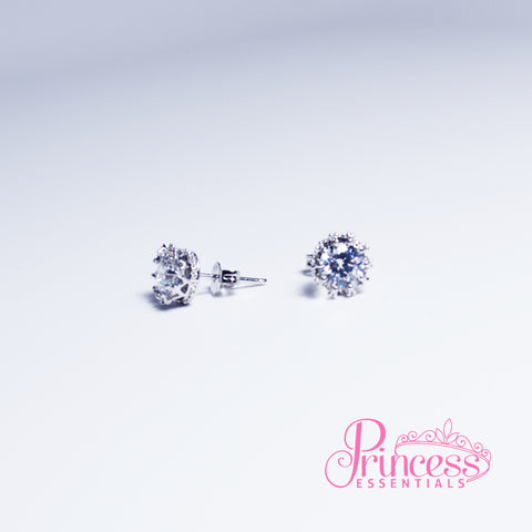 925 Sterling Silver Crystal Crown Earrings