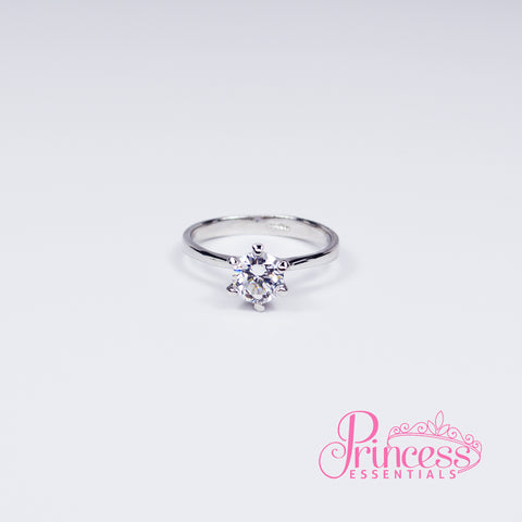 Petite Solitaire Silver Plated Ring